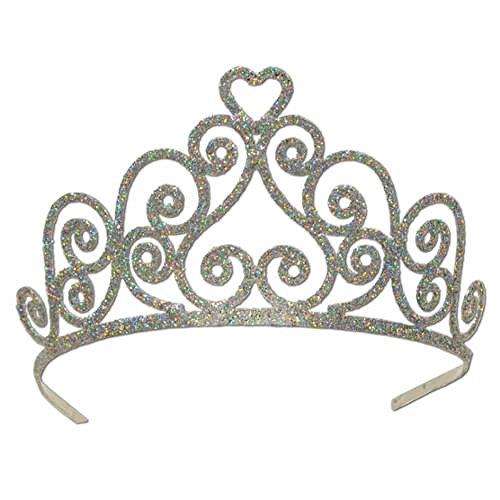 [Pack of 6 Elegant Silver Glitter Encrusted Metal Heart Princess Tiara Costume] (Bicycle Themed Halloween Costumes)