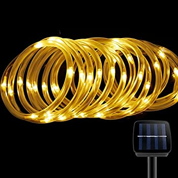Solar Rope Lights,Findyouled Outdoor Waterproof 100LED 33ft Decoration Light,Automatically Working From Dusk to Dawn(Warm White)