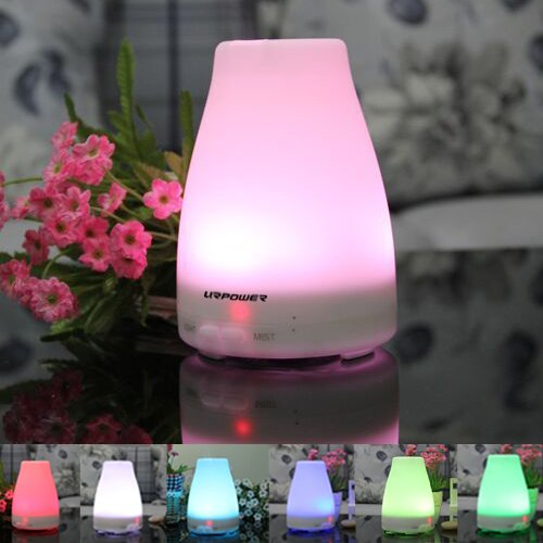 Essential Oil Diffuser,URPOWER® 100ml Pocket Ultrasonic Aroma Essential Oil Cool Mist Diffuser Humidifier with Adjustable Mist Mode,Waterless Auto Segregate-off and 7 Color LED Lights Changing,against Dry Air for Bedroom,Office,Home