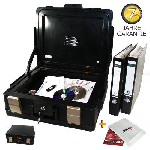 Feuerfeste- Wasserdichte Dokumentenkassette inkl. feuerfeste Schutztasche! Dokumentenbox Geldkassette Format DIN A4 XL, Original Honeywell passend für DIN A4 (B4) Ordner!