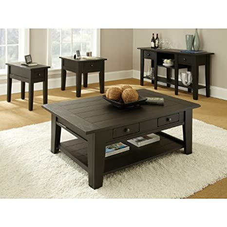 Steve Silver Liberty Rectangular Wood Coffee Table in Antique Black