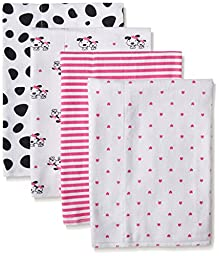 Gerber Baby Girls\' 4 Pack Flannel Burp Cloths, Dalmatian, One Size