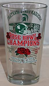 Buy Michigan State Spartans 2014 Rose Bowl Champions Glass Pint 2nd Design by Forever Collectibles