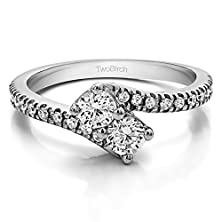 buy 18K White Gold Together 4Ever: Two Stone Ring By Twobirch With Diamonds (0.99 Ct. Twt.)