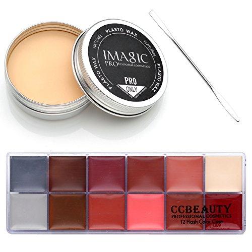 CCbeauty® 3PC Set Special Effects Stage Makeup Fake Wound Scars Wax + Oil Painting(flash color) + Spatula Tool (1pc wax+1pc oil painting+1pc Spatula Tool #2) (Brazil Wax Kit compare prices)