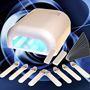 Lampe UV 36W Manucure Faux Ongles Gel UV avec 8 ampoules et Accessoires