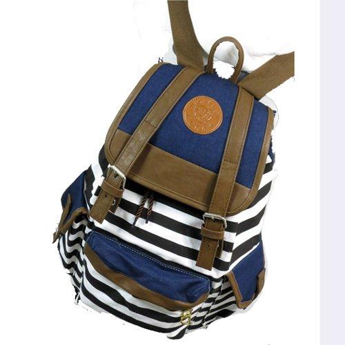 Tobey Black Canvas Backpack School Bag Super Cute Stripe for School Laptop Bag Waterproof Black
