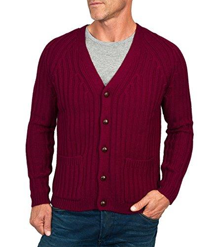 Wool Overs Men's British Wool Rib V Neck Cardigan Burgundy Small (Wool Overs British Wool compare prices)