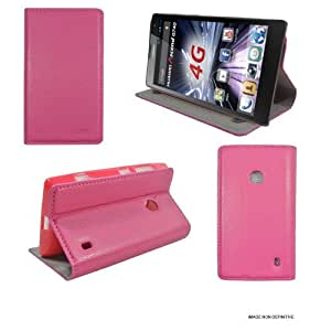 Ultra Slim Tasche Leder Style Huawei Ascend G740 4G Hülle rosa Cover mit Stand - Zubehör Etui Huawei Ascend G740 2014 Flip Case Schutzhülle (PU Leder, Rosa Pink) - XEPTIO accessoires