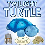 Cloud b Twilight Turtle Blue (7323-BL) + Cloud b Baby Turtle with Quiet Rattle (7321-ZZ) + NiMH AAA Rechargeable Batteries and Charger DavisMAX Bundle
