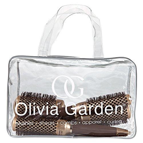Olivia Garden Ceramic + Ion - Borsa con 4 spazzole tonde termiche, misure: 24/34/44/54 mm