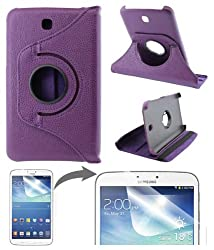 DMG Full 360 Rotating Flip Book Cover Case Stand for Samsung Galaxy Tab 3 T211 with Matte Screen protector +DMG Wristband -Purple