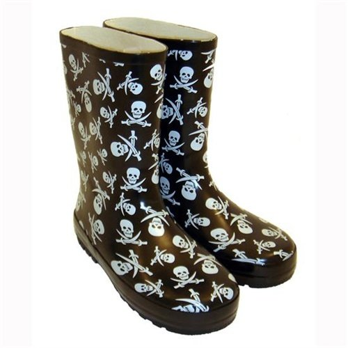 Kids Fun Pirate Skull and Crossbone Print Slip On Wellington Boots for Older Kids