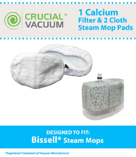 1 Bissell Vacuum Cleaner Water-Calcium Filter & 2 Mop Pads, Fits The Bissell Vacuum Steam Mop 218-5600; Part # 2185600, 218-5600, 203-2158, 2032158, 3255 & 32525, Designed & Engineered By Crucial Vacuum