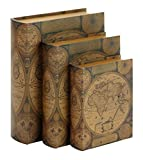 Benzara Beautifully Designed Wood Leather Book Box, Set of 3