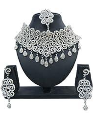 Shree Bhawani Art Jewelry Silver Choker Necklace Set For Women