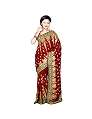 Indian Tempting Maroon Colored Embroidered Faux Georgette Saree By Triveni
