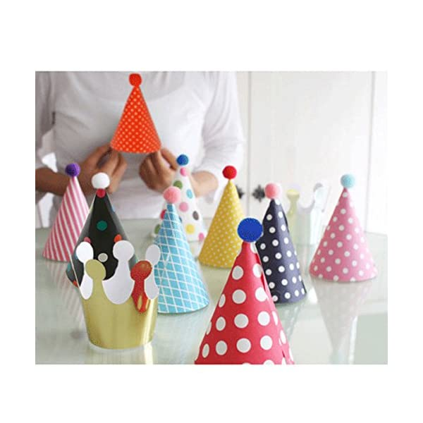 Lovely Mini Paper Cone Birthday Party Hats For Children And Adults