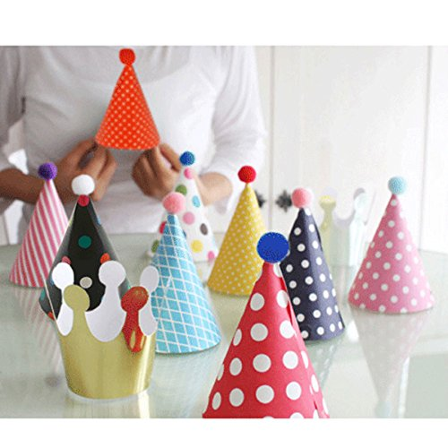 lovely-Mini-paper-cone-birthday-party-hats-for-Children-and-AdultsFun-Party-Hats-Set-for-Kids-Birthday-New-Year-Hats-Set-of-9-Hats-and-2-Crowns