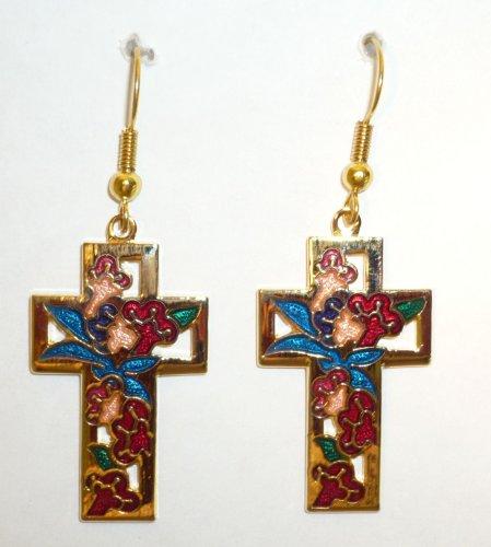 Large Red Cloisonne Cross Pierced Earring