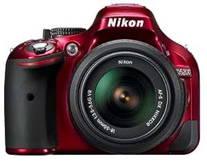 Nikon D5200 SLR-Digitalkamera (24,1 Megapixel, 7,6 cm (3 Zoll) TFT-Display, Full HD, HDMI) Kit inkl. AF-S DX 18-55 mm VR Objektiv rot