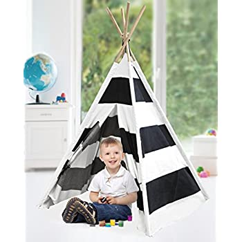 Heritage Kids Play Tent, Black and White Stripes