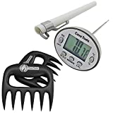 Digital Thermometer + Pulled Pork Shredder Claws - STRONGEST BBQ MEAT FORKS - Shredding Handling & Carving Food - Claw Handler Set for Pulling Brisket from Grill Smoker or Slow Cooker - Barbecue Paws