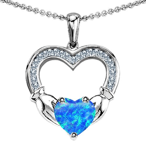 CANDYGEM 925 Sterling Silver Hands Holding Heart Celtic Love 1inch. Claddagh Pendant with a Large 2 cts. Lab Created Blue Opal. Free 18inch Gold Plated Silver Chain. Free High End Gift Box. From the Celtic Love collection by Kelly.