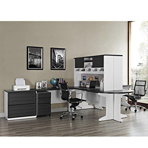 Altra Pursuit Bridge Work Table White Gray Furniture