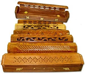 """6pc Set of 12"""" Assorted Carved & Inlayed Wooden Coffin Box Incense Burners"""
