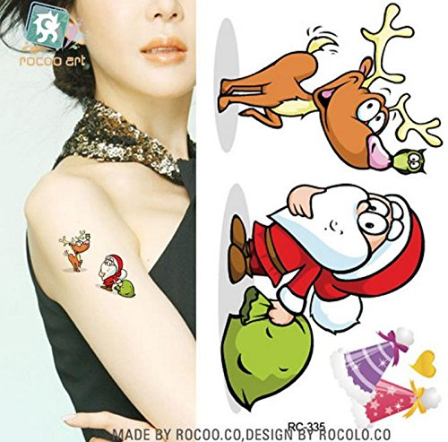 [NEW! 4pcs Tattoo Body Temporary Sticker Removable Waterproof Christmas] (Red Octopus Pajama Costumes)