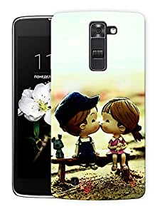 """Cute Couple Kissing Cartoon Printed Designer Mobile Back Cover For """"LG K7"""" By Humor Gang (3D, Matte Finish, Premium Quality, Protective Snap On Slim Hard Phone Case, Multi Color)"""