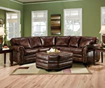Big Sale SIMMONS 9222DN ENCORE BROWN LEATHER SECTIONAL SOFA OTTOMAN NAILHEADS