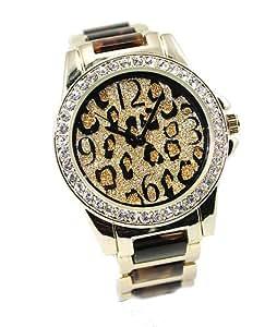 Ladies Watch Leopard Print CZ Dial Tortoise Shell Bracelet