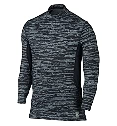 Nike Men\'s Dri-Fit Hyperwarm Max Fitted Training Top-Black/Gray-Large