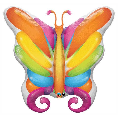"Rainbow Colored Butterfly Large 40"" Balloon Mylar"