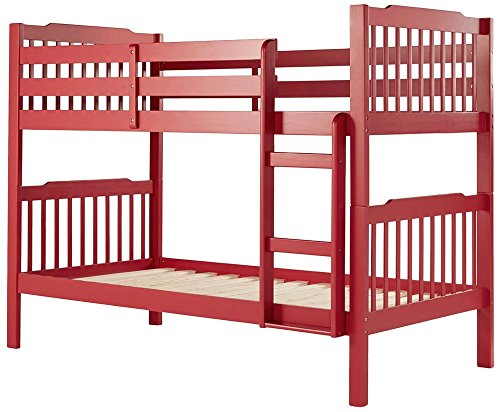 abcFurnish ABUNK4 Children's Bed (Melamine Finish, Red)
