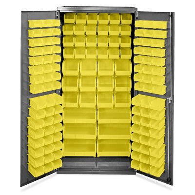 """Akro-Mils Ac3624 Y Steel Storage Cabinet With Louvered Panels On Back Wall And Doors, Includes 138 Yellow Akrobins, 36"""" W X 24"""" D X 78"""" H front-163637"""