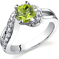 Majestic Wave 0.75 carats Peridot Ring in Sterling Silver Size 5 to 9 Free Shipping