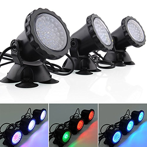 Prodeals® Underwater Led Light 6W Multicolor 6W 36-Led Submersible Waterproof Led Underwater Light Outdoor Garden Floodlight Landscape Fountain Pond Lamp Light For Underwater Or Above Water Fountain Pond Water Garden (Set Of 3 Multi-Colored)