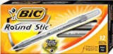 BIC Round Stic Xtra Precision Ball Pen, Fine Point (0.8 mm), Black, 12-Count