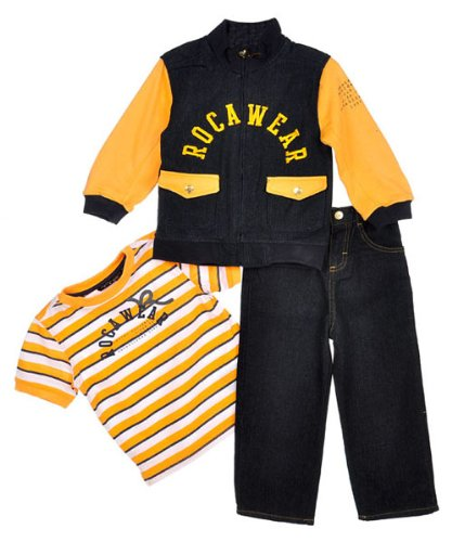 "Rocawear ""Bold Builders"" 3-Piece Outfit (Sizes 2T - 4T) - navy, 4t"