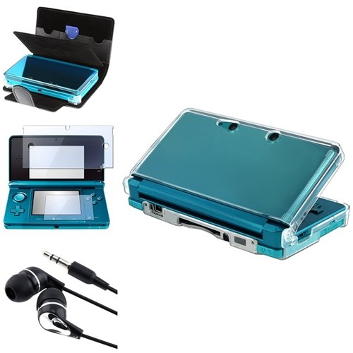 Eforcity® Black Leather+Clear Hard Case+2-Lcd Screen Protector+Earplug Compatible With Nintendo 3Ds
