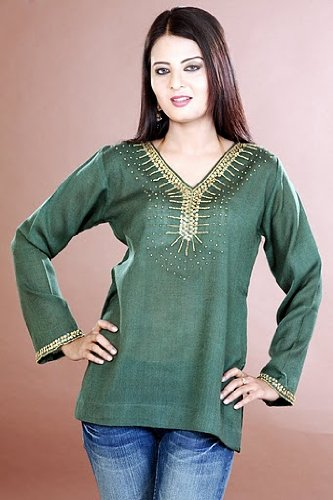 womens / ladies long sleeve cotton blended sequins work tops / tunics / kurta