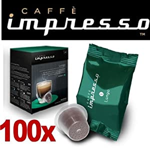 Get 100 x Caffè Impresso Nespresso ® Compatible Coffee Capsules / Pods Lungo by Espresso Capsule Company