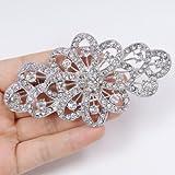 EVER FAITH® 4 Inch Bridal Flower Ribbon Brooch Clear Austrian Crystal
