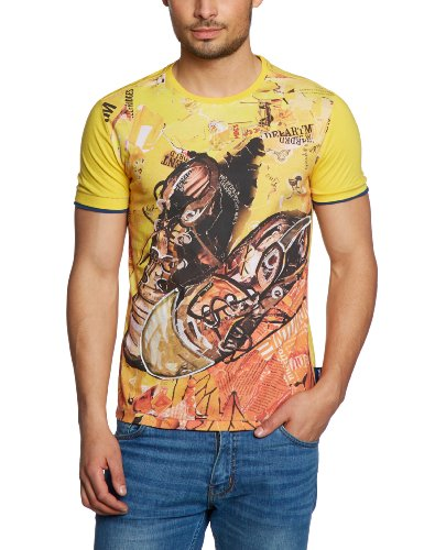 Desigual TS_ Botas Collage Printed Men's T-Shirt Amarillo Fluor Small