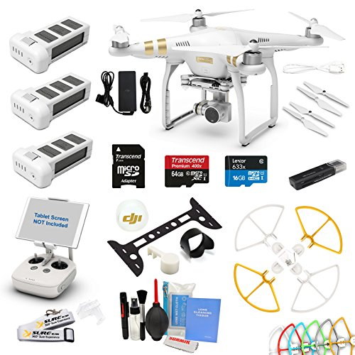 DJI Phantom 3 Professional 4K Video Camera Quad Copter Drone with 2 Batteries, 64GB U1 SD Cards and Snap on Prop Guards