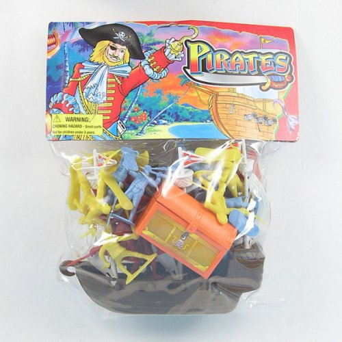 Toy Pirate Ship Playset with 2 inch 1/35th 52mm Pirate Army Men, Cannon, and Treasure Chest! - 1