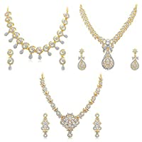 Sukkhi Glimmery 3 Pieces Golden Brass Choker Necklace Set Combo For Women